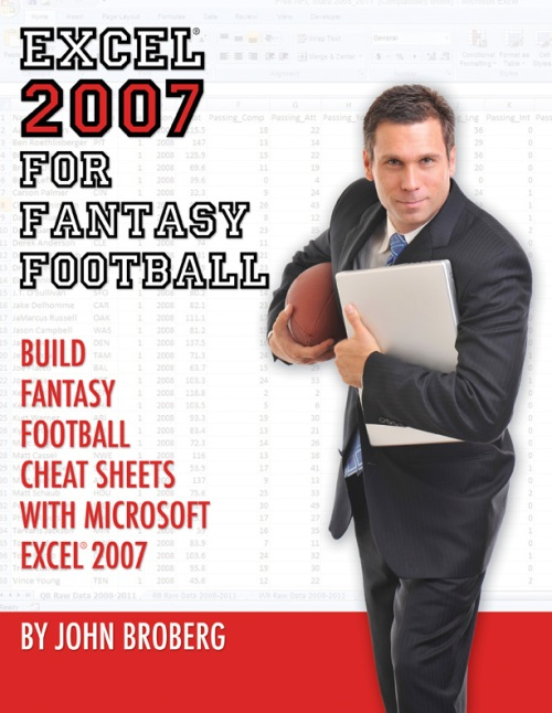 Excel 2007 Fantasy Football Book cover cheat sheet draft graphic design