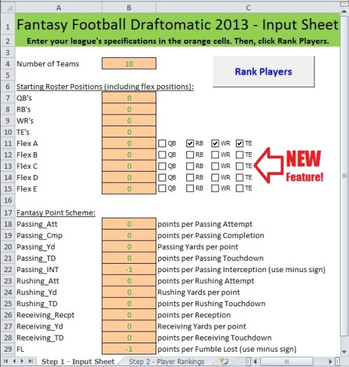 fantasy football, Microsoft Excel, spreadsheet, Value Based Drafting, VBD, cheat sheet, NFL