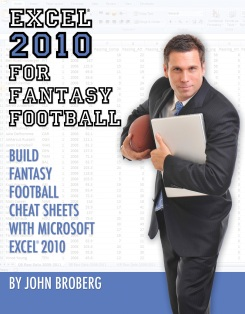 Excel 2010 for Fantasy Football Book Cover PivotTable Cheat Sheet VLOOKUP