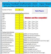 Value Based Draftomatic Excel Spreadsheet Fantasy Football