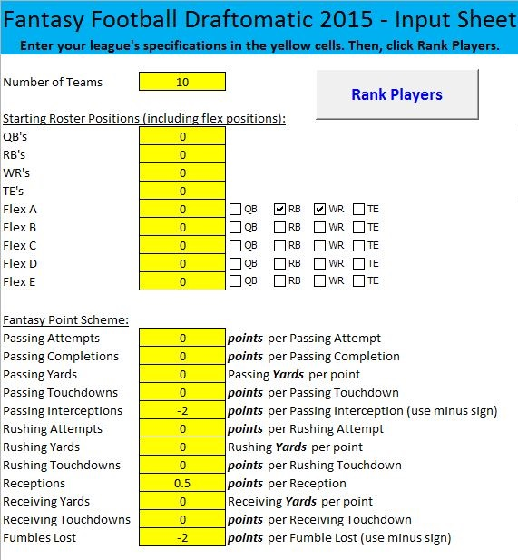 Excel for Fantasy Football © | Build Fantasy Football Cheat Sheets